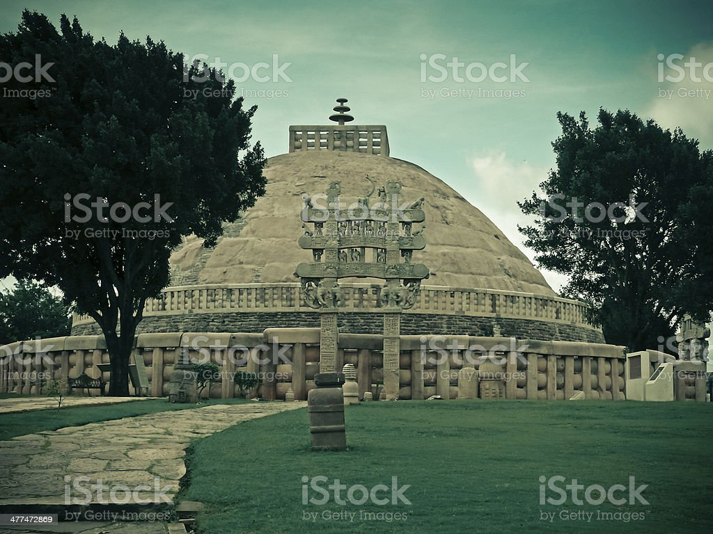 View of Sanchi Stupa No. one, Sanchi, Madhya pradesh, India stock photo