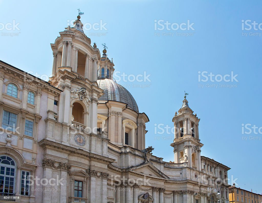 View of Sant Agnese in Agone on Piazza Navona. stock photo