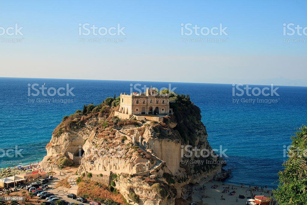View of Santa Maria dell'Isola, Tropea in Calabria, Italy stock photo