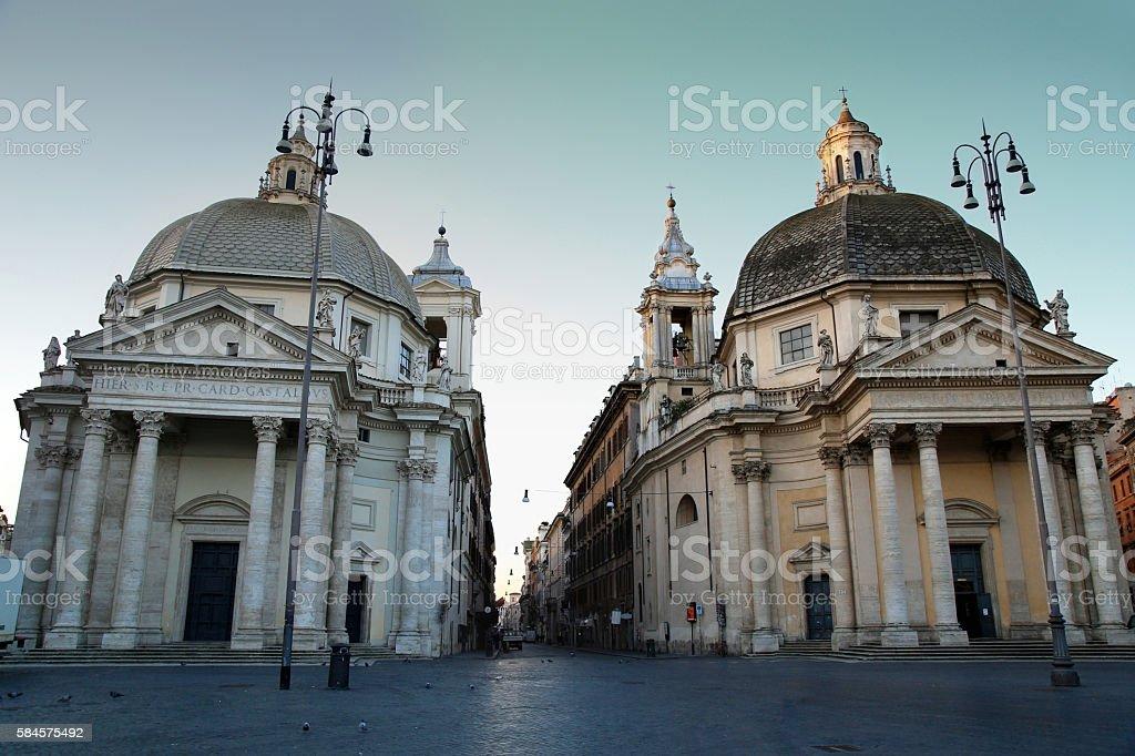 View of Santa Maria in Montesanto and Santa Maria stock photo