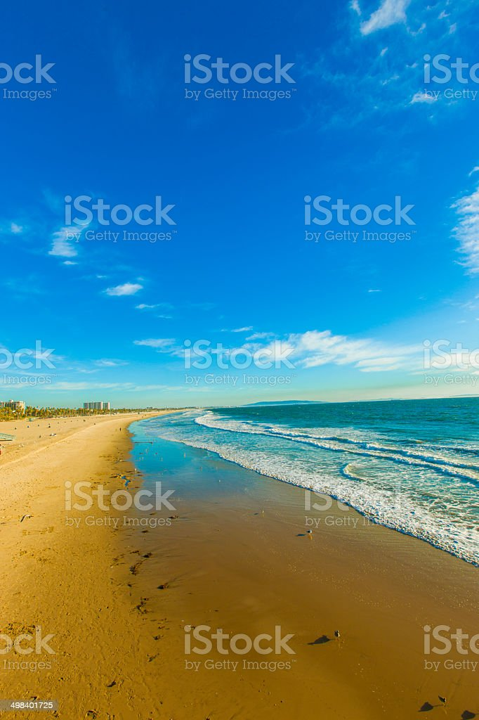 View of Santa Monica Beach from the Pier stock photo