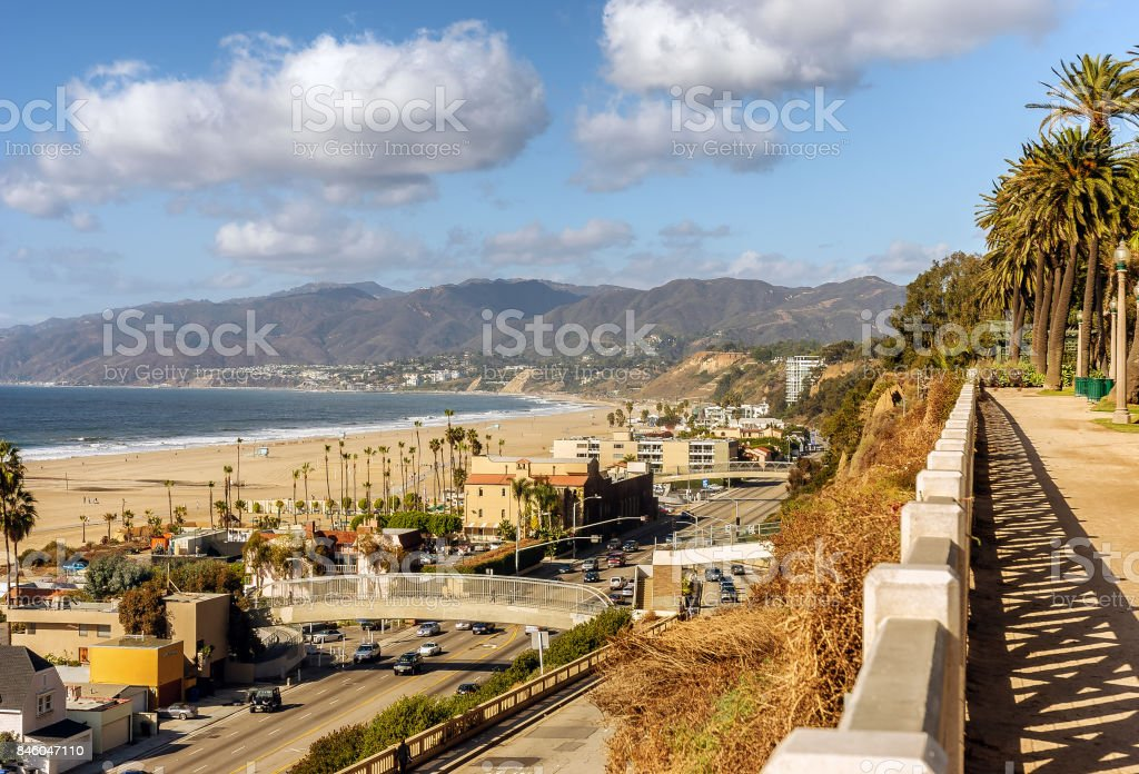 View of Santa Monica beach homes and Pacific Coast highway. stock photo