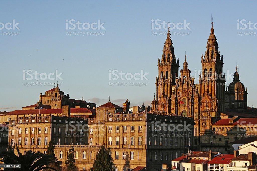 View of Santiago de Compostela Cathedral stock photo