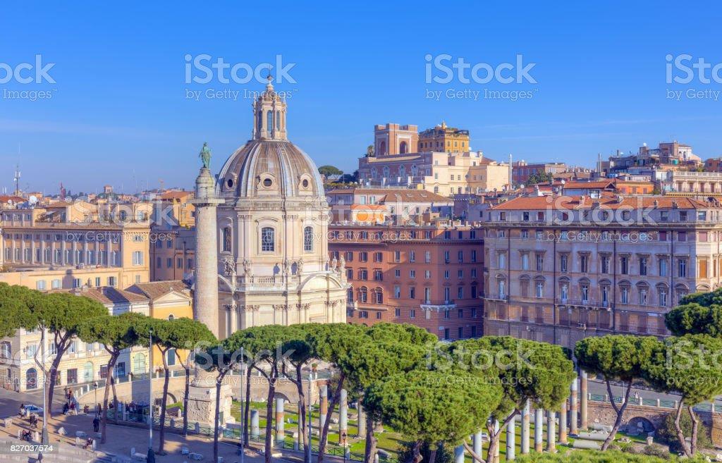 View of Santissimo Nome di Maria church at the Trajan Forum, Rome, Italy stock photo