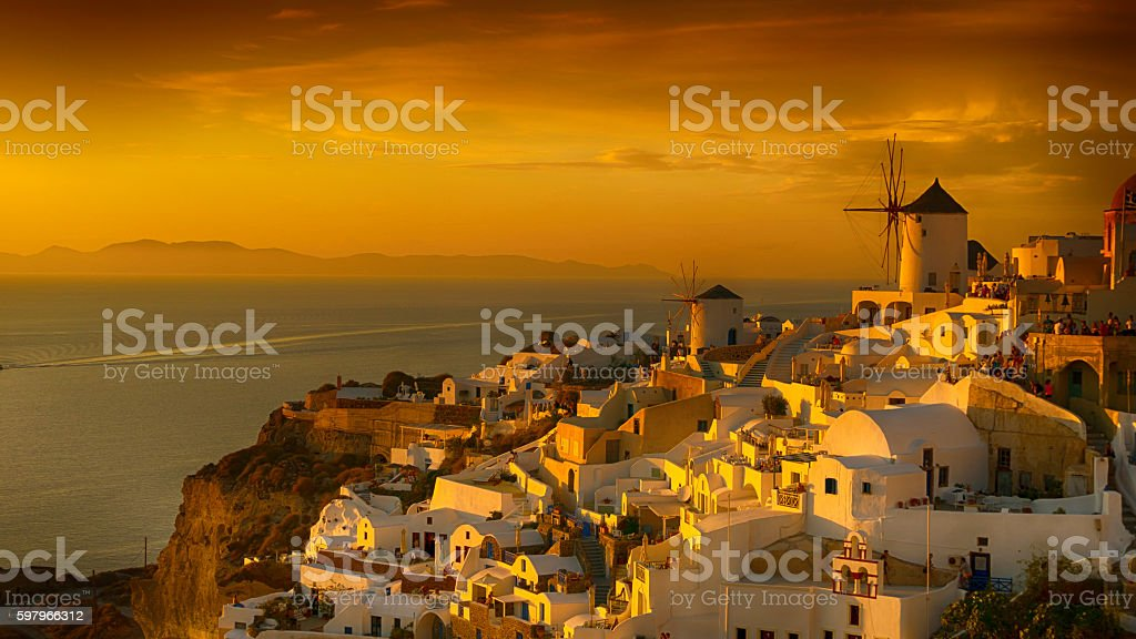 View of Santorini gold sunset, Greece stock photo
