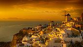 View of Santorini gold sunset, Greece