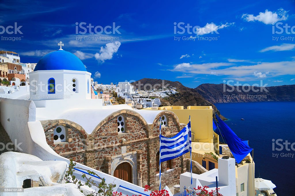 View of Santorini houses and church stock photo