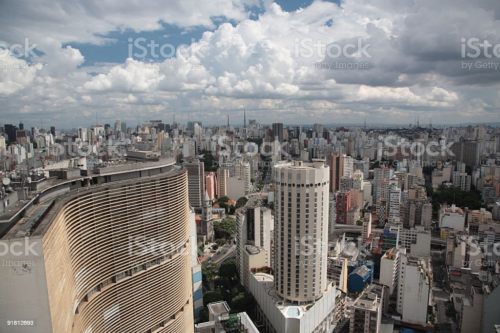 View of Sao Paulo, Brazil, from the top of a skyscraper stock photo