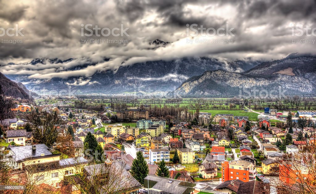 View of Sargans village in Swiss Alps stock photo