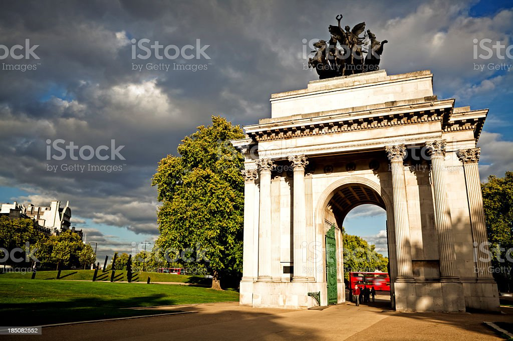 View of scenery in Wellington Arch, London stock photo