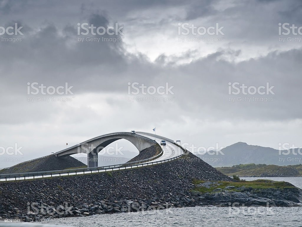 View of scenic road and bridge  stock photo