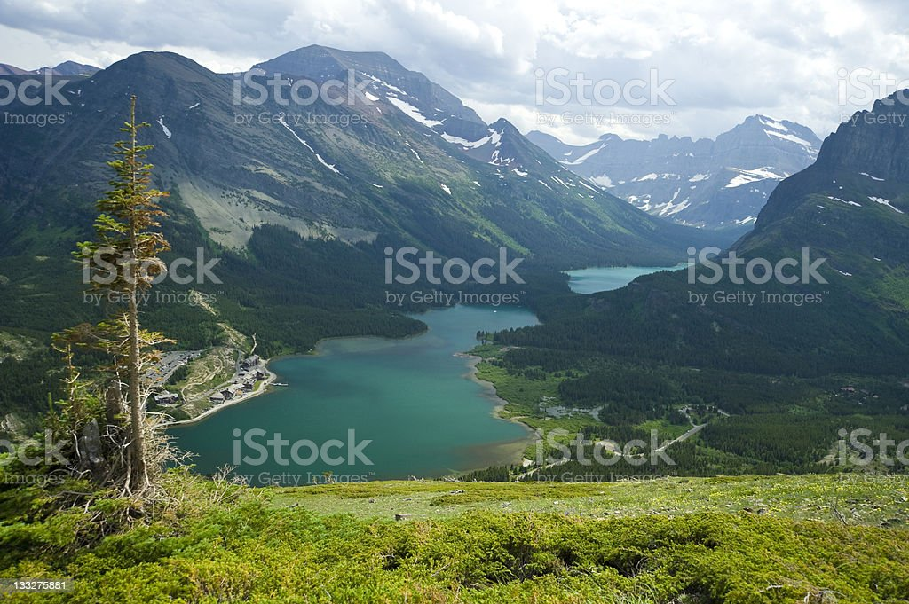 View of Scenic Swiftcurrent Lake at Glacier National Park stock photo