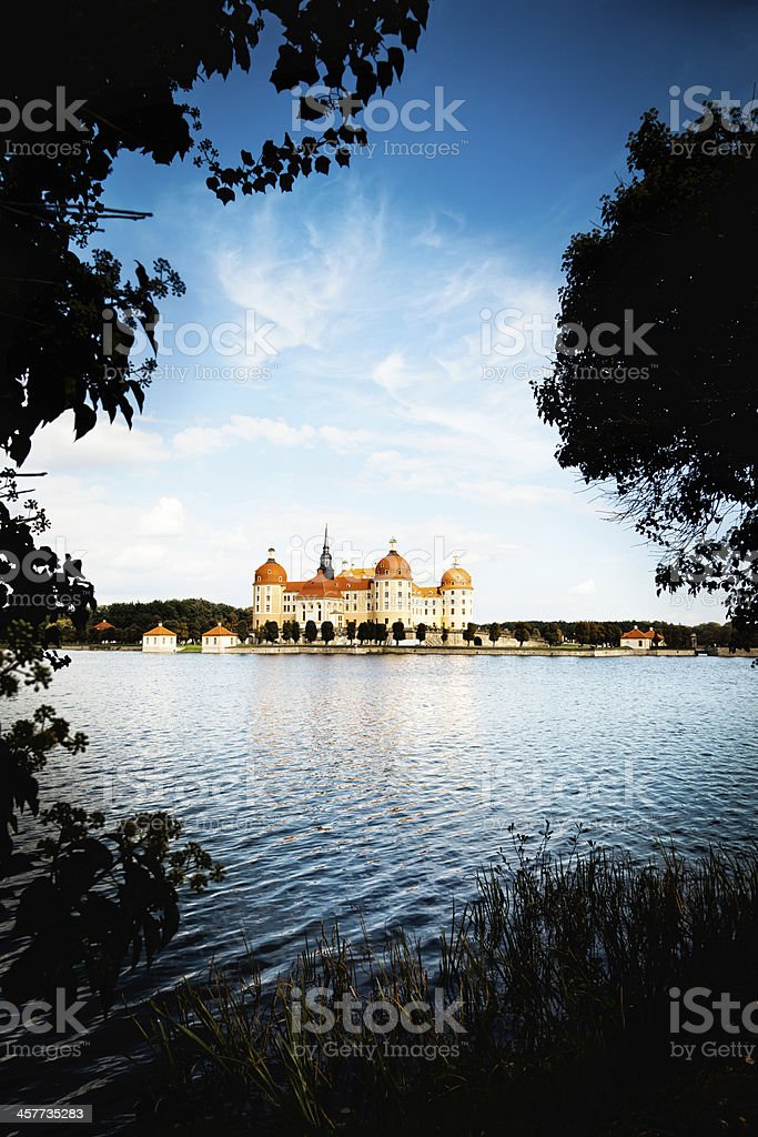 view of Schloss Moritzburg across the water stock photo