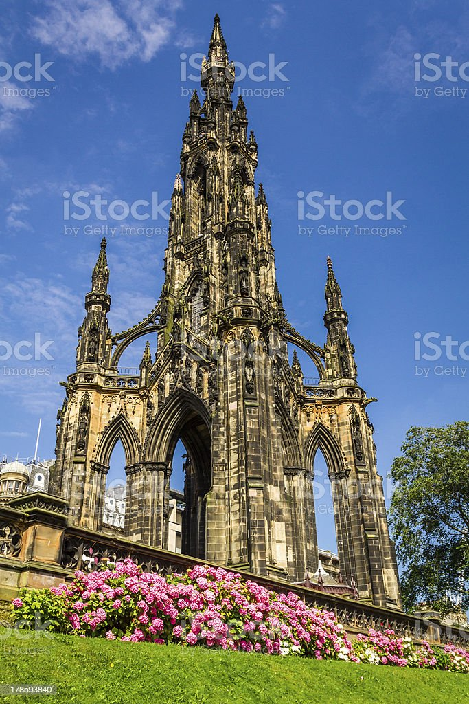 View of Scott Monument in Scotland stock photo