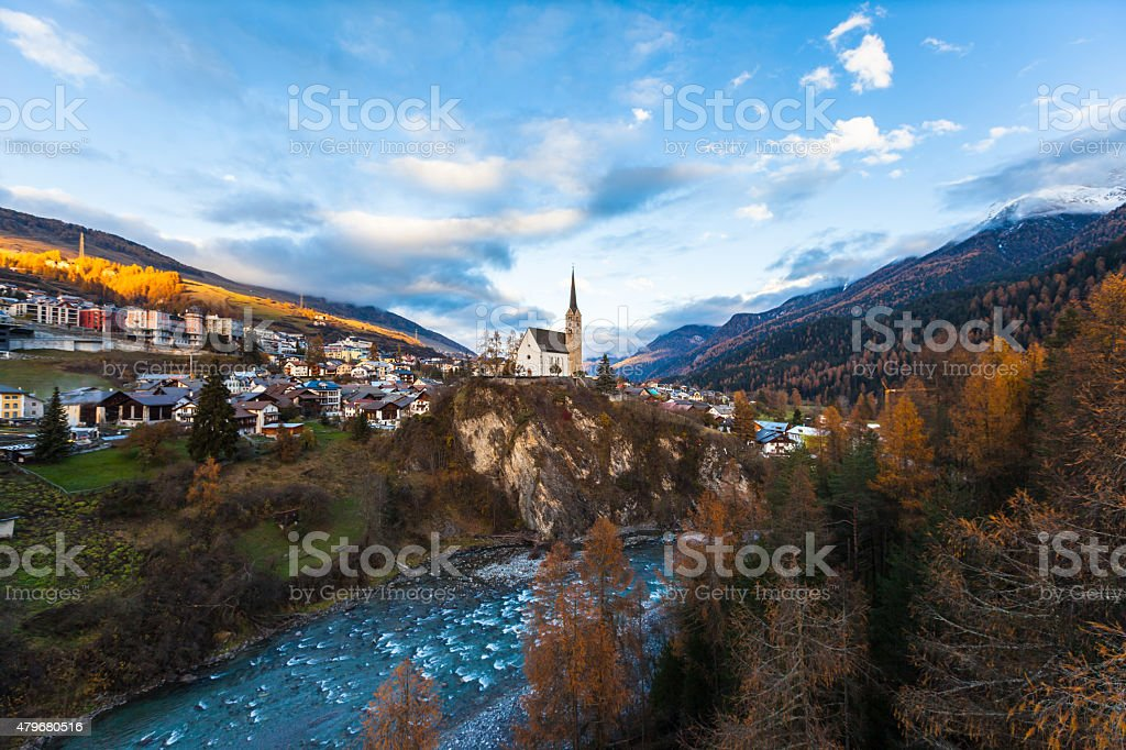 View of Scuol Town in Sunset stock photo