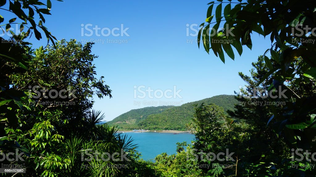 View of sea framed by greens & trees with mountain in the background stock photo