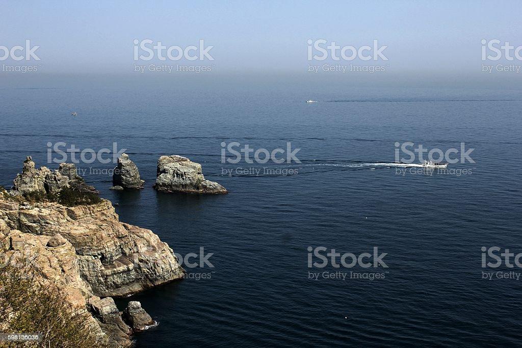 view of sea, island in korea stock photo