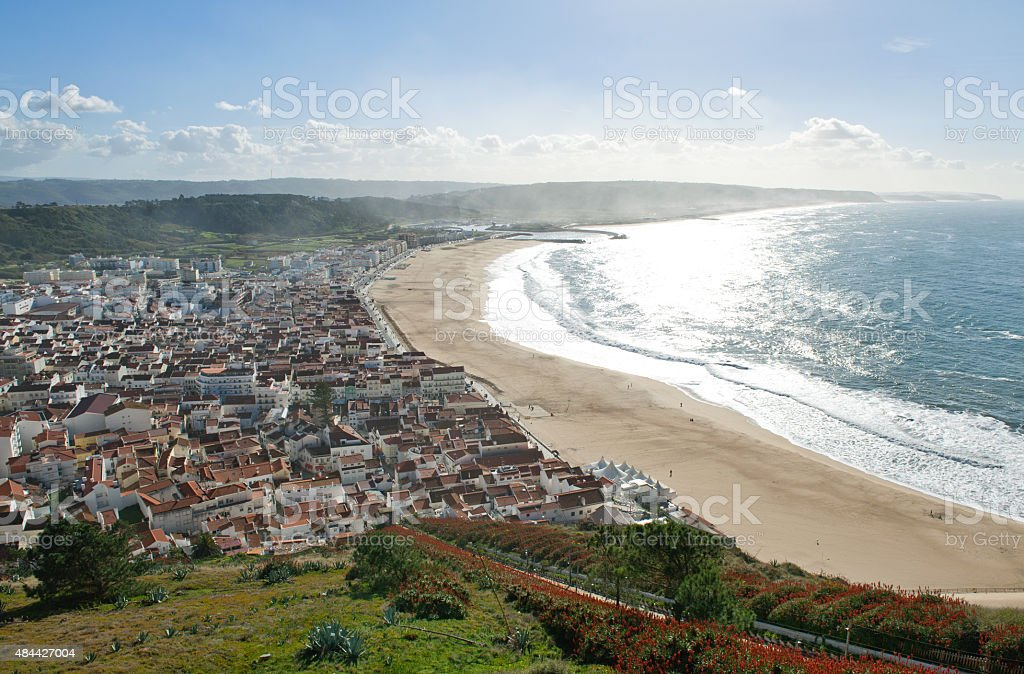 View of seaside village of Nazare Portugal stock photo