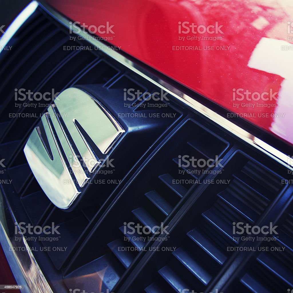 View of Seat's logo on an Alhambra front grid. royalty-free stock photo