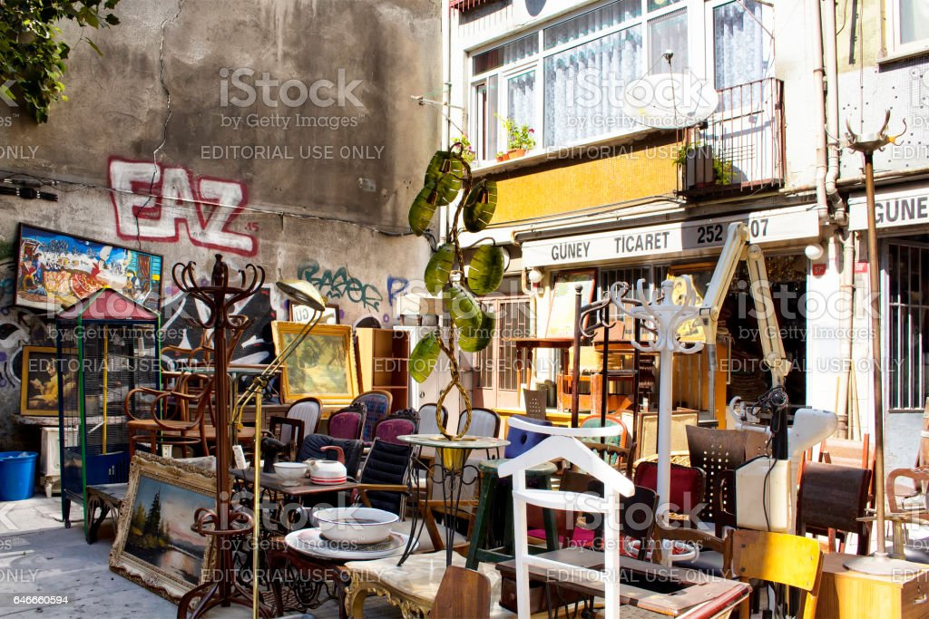 View of second hand furniture store in Cukurcuma area stock photo