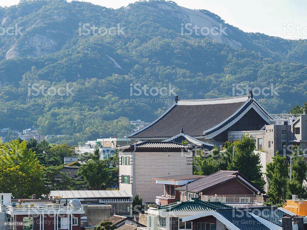 View of Seoul city from Bukchon Hanok Village, Seoul royalty-free stock photo