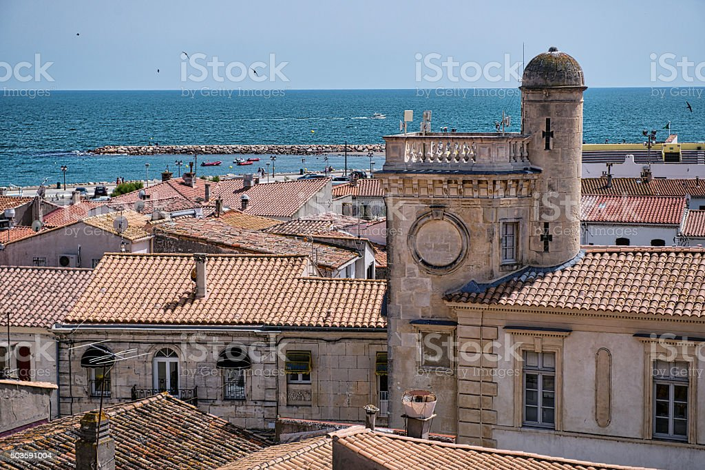 View of Sete, town of Camarge, South of France stock photo