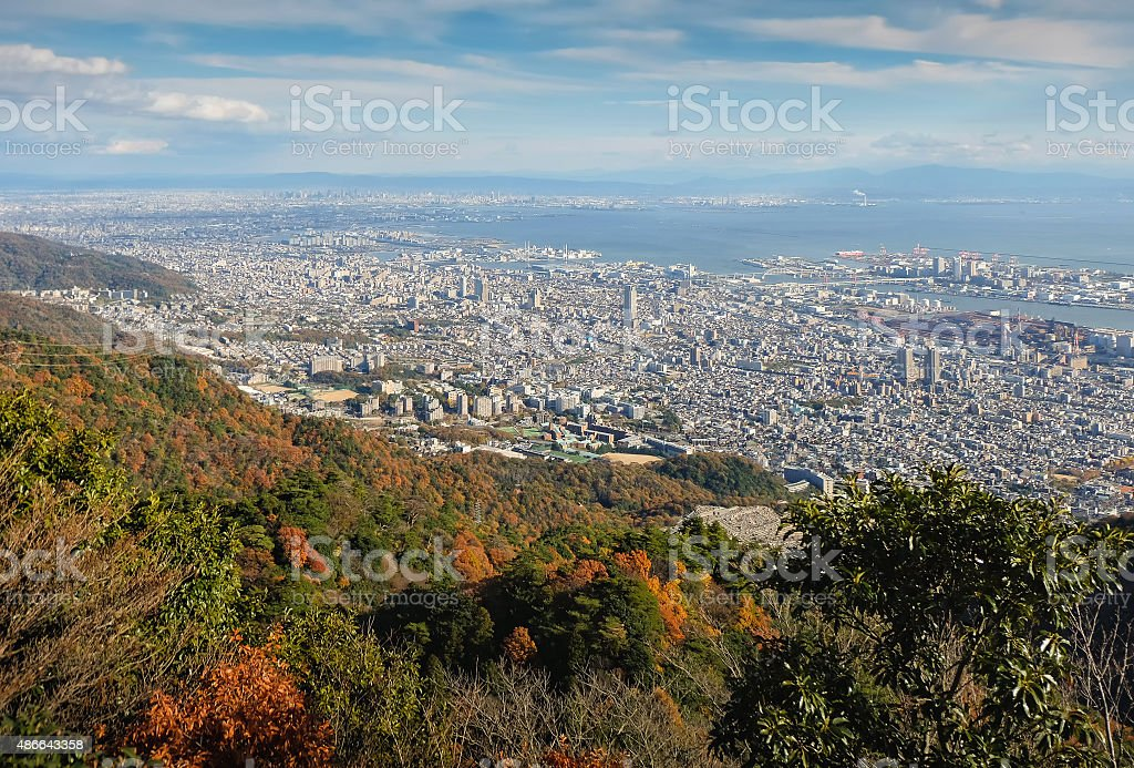 View of several Japanese cities in the Kansai region stock photo