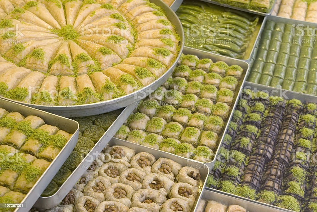 A view of several trays of Turkish sweets stock photo