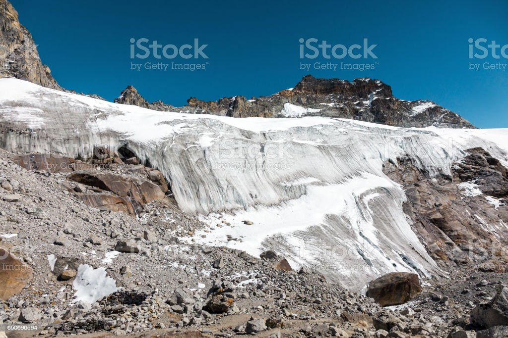 View of severe Glacier in high Mountains stock photo