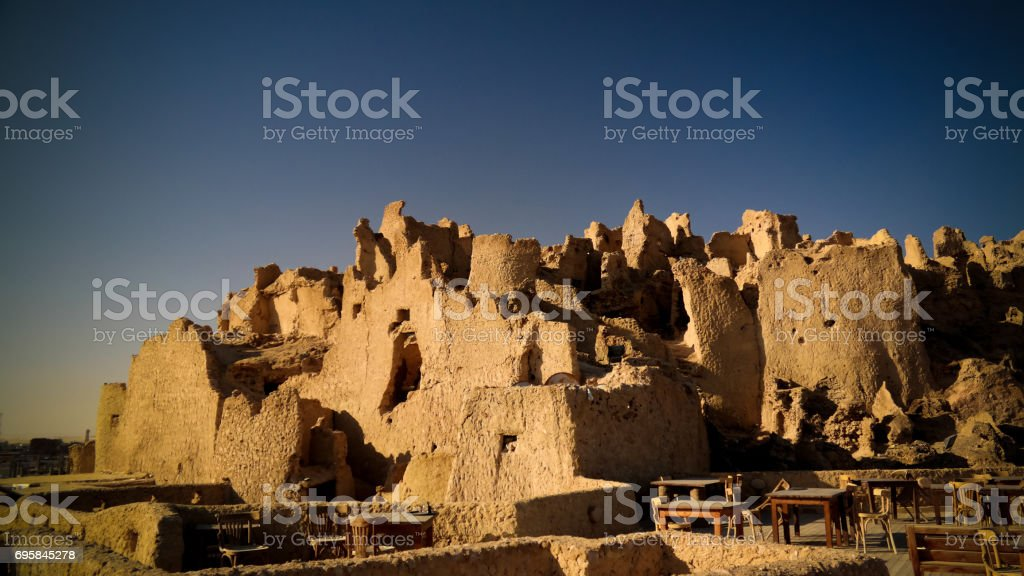 View of Shali old city ruins in Siwa oasis, Egypt stock photo