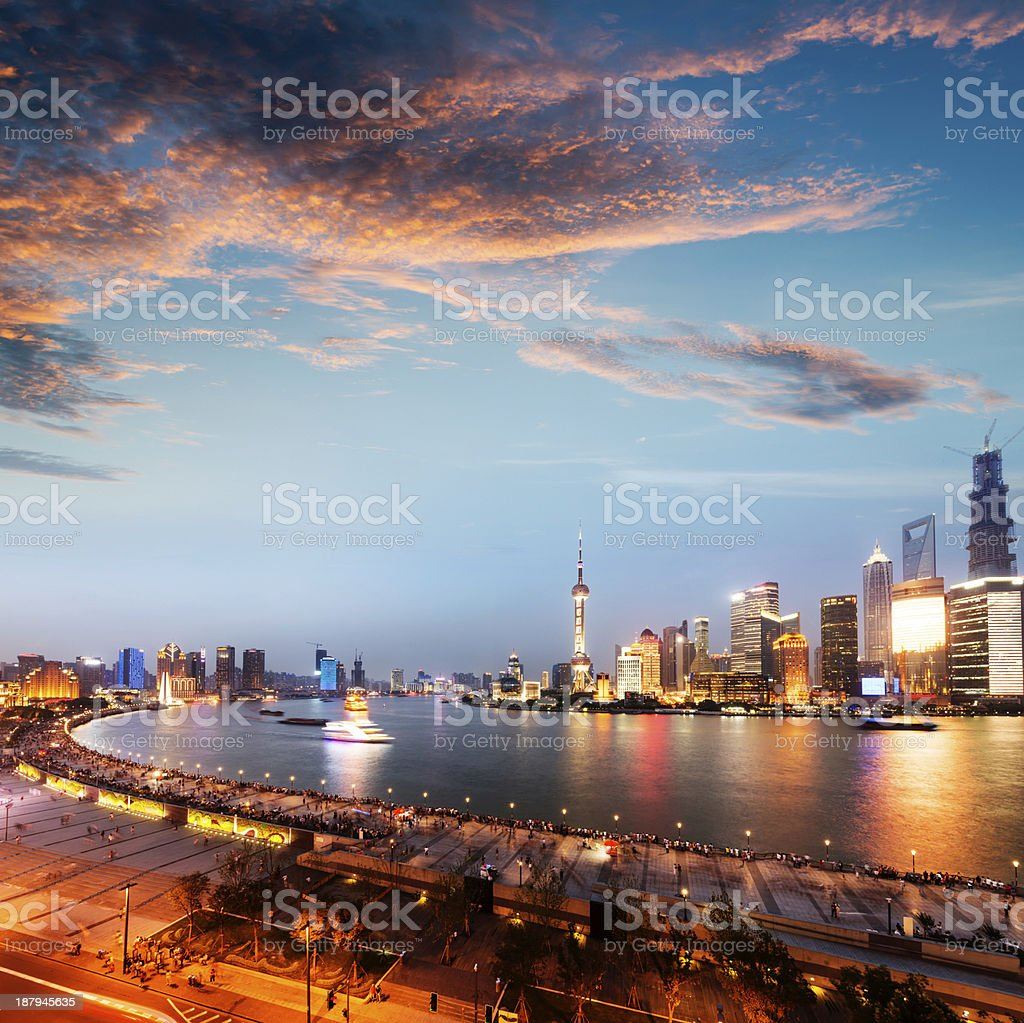 View of Shanghai illuminated from across the river royalty-free stock photo