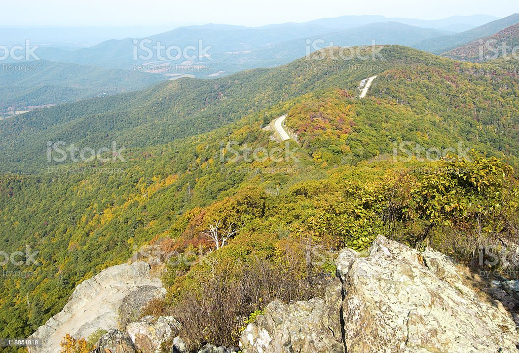 view of Shenandoah National Park from Little Stony Man royalty-free stock photo
