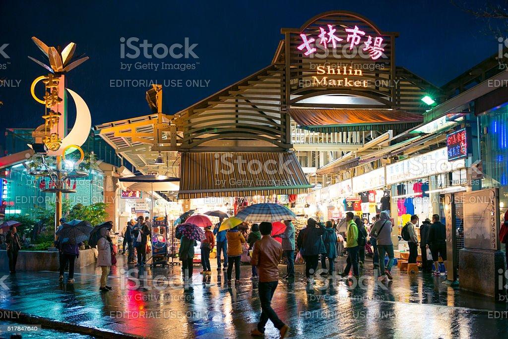 View of Shihlin Night Market in the rain stock photo