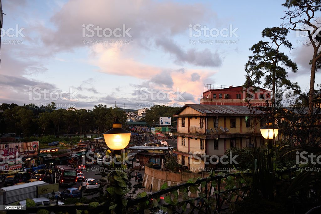 view of shillong town stock photo