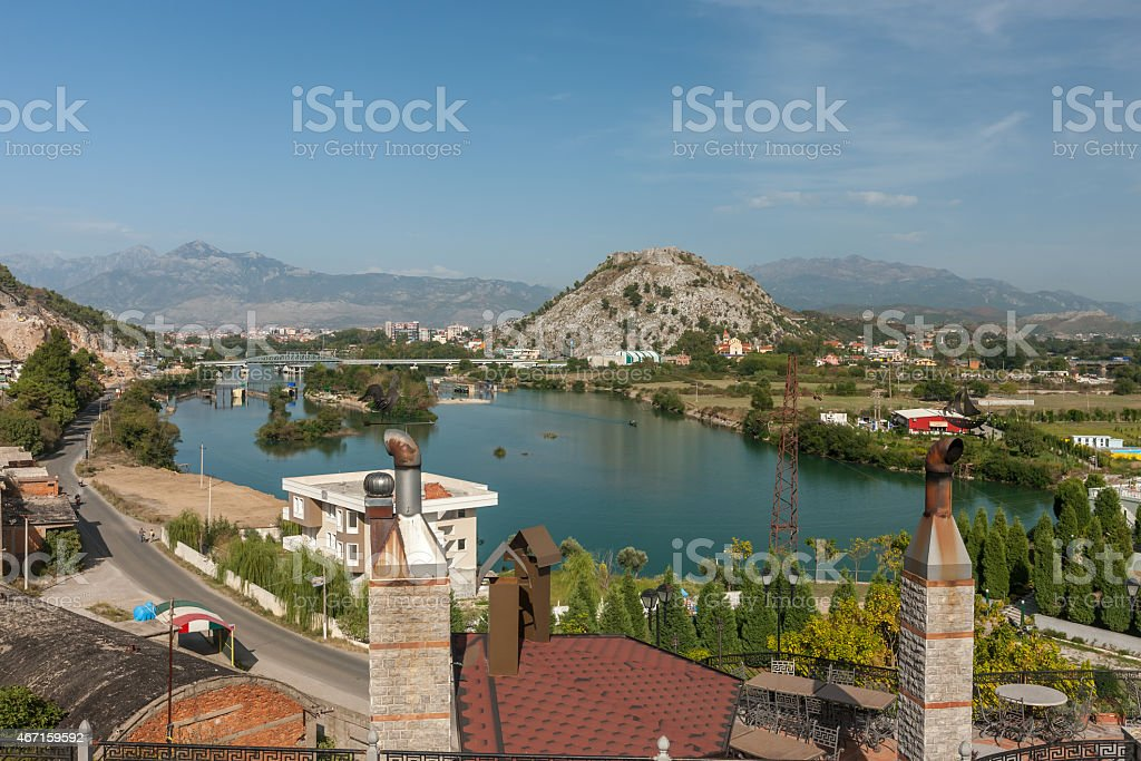 A view of Shkondra city against blue sky stock photo