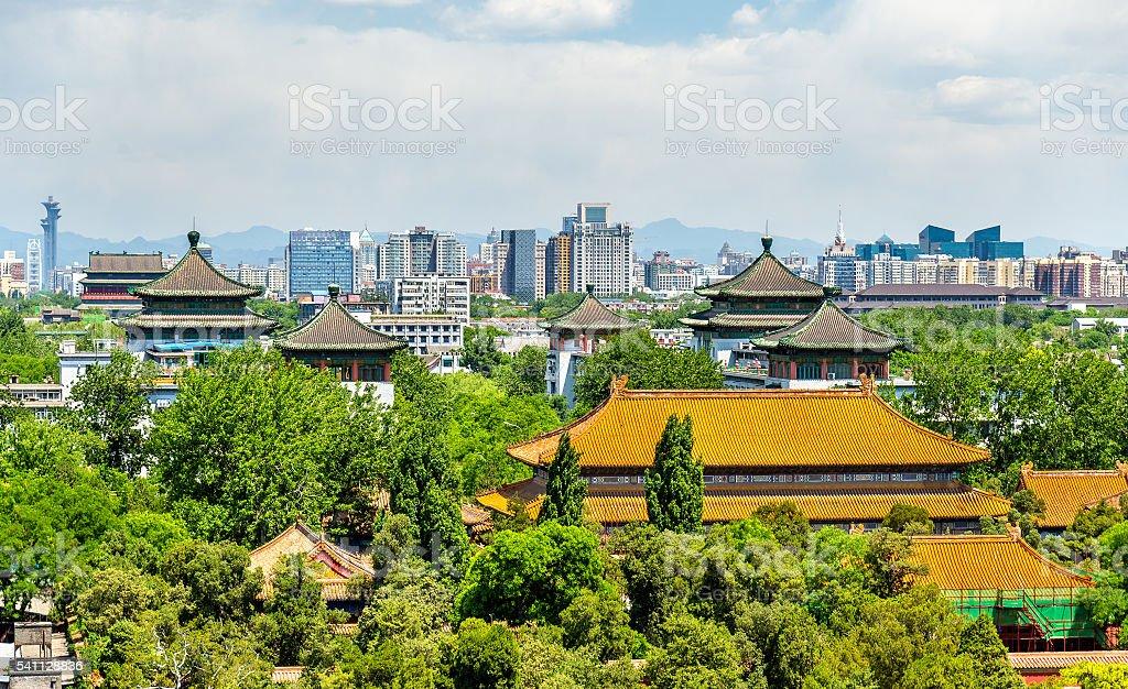 View of Shouhuang Palace in Jingshan Park - Beijing stock photo