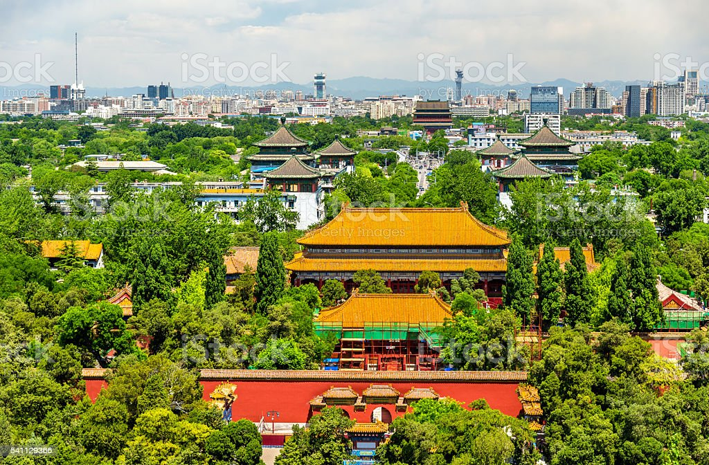 View of Shouhuang Palace in Jingshan Park - Beijing stock photo