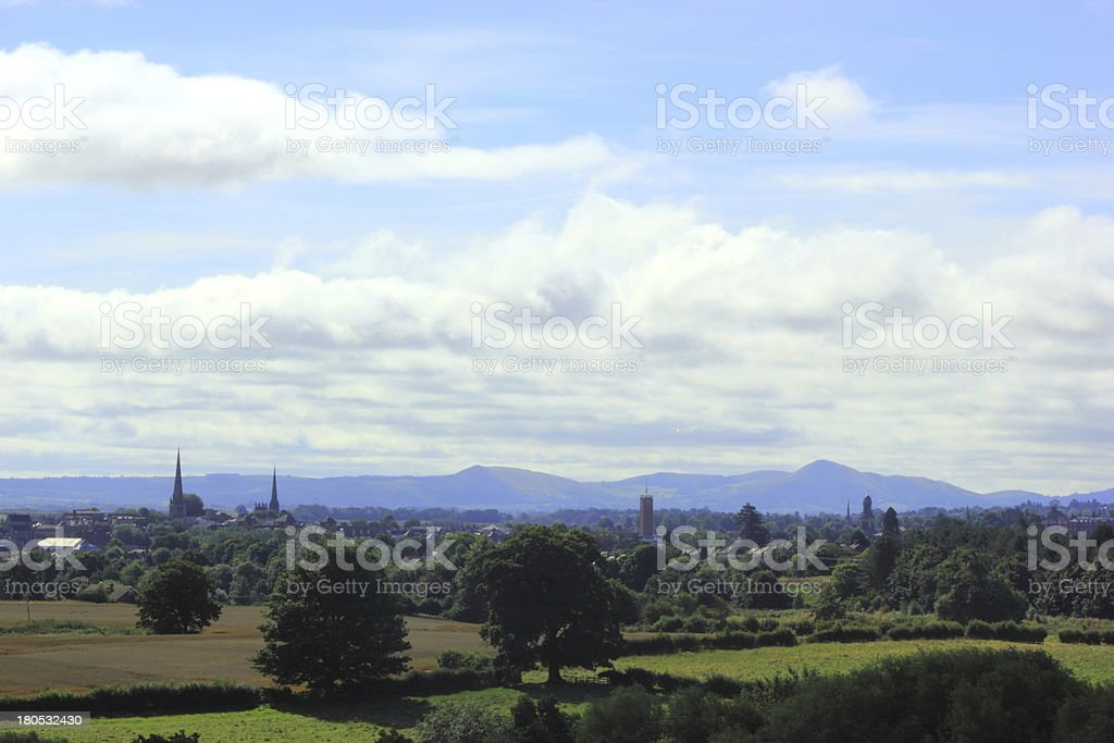 View of shrewsbury from a hill stock photo