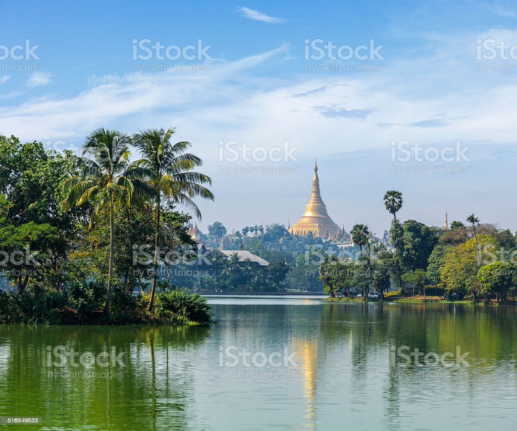 View of  Shwedagon Pagoda over Kandawgyi Lake stock photo