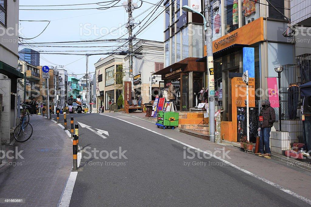 View of sidewalk in Ura-Harajuku stock photo
