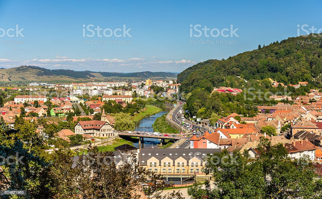 View of Sighisoara over the Tarnava river - Romania stock photo