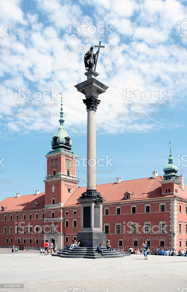 View of Sigmund's Column and Royal Castle in Warsaw royalty-free stock photo
