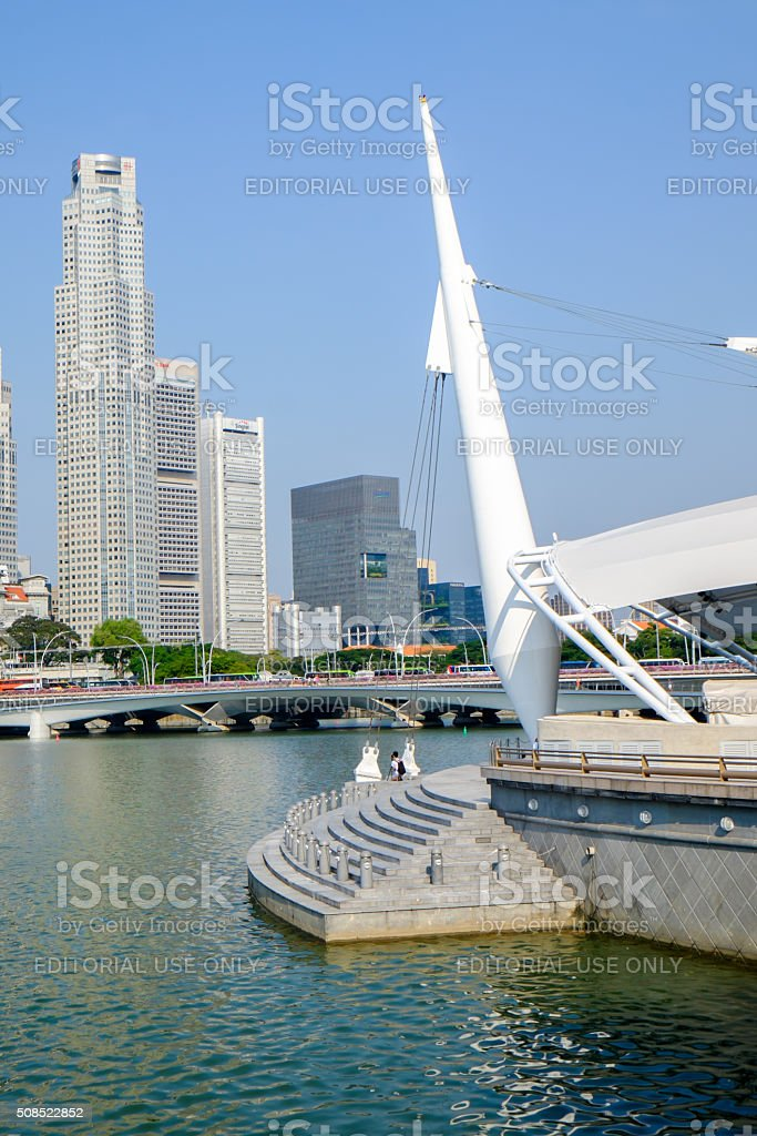 View of Singapore city, Merlion park at Marina Bay royalty-free stock photo
