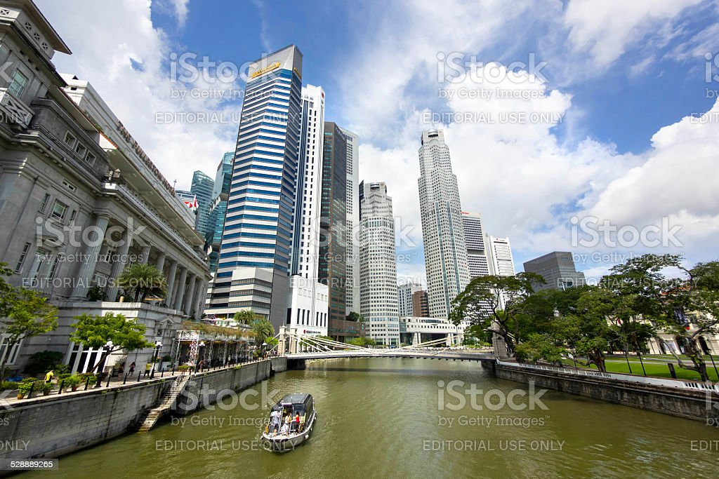 View of Singapore River and Downtown Singapore stock photo