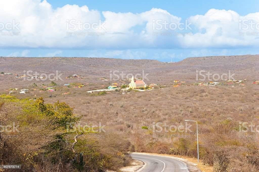 View of Sint Willibrordus on the Island of Curaçao. stock photo
