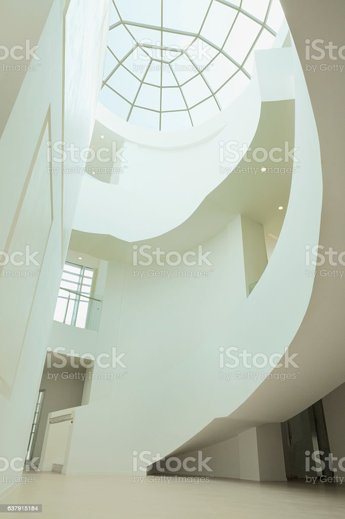View of skylight and atrium in building stock photo