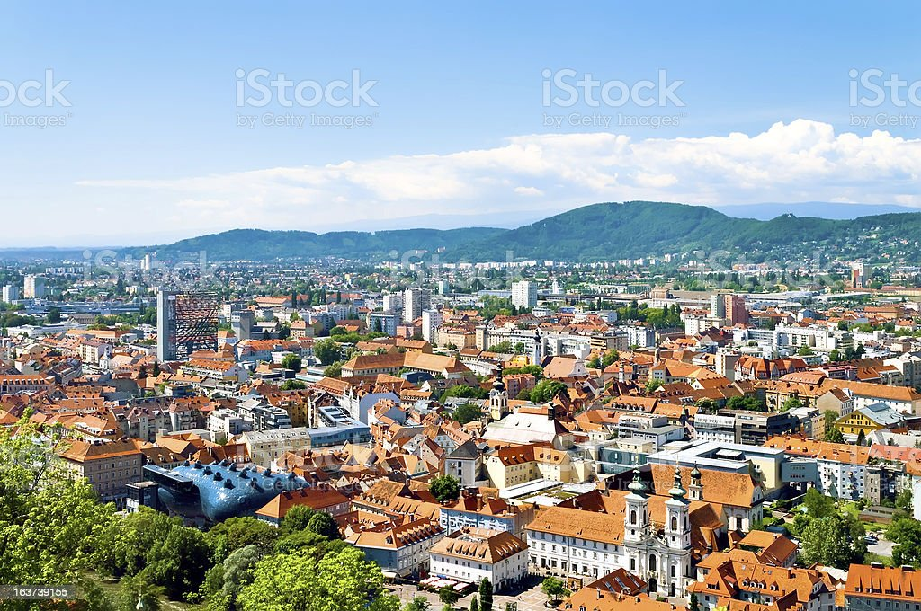 View of skyline of Graz panorama stock photo