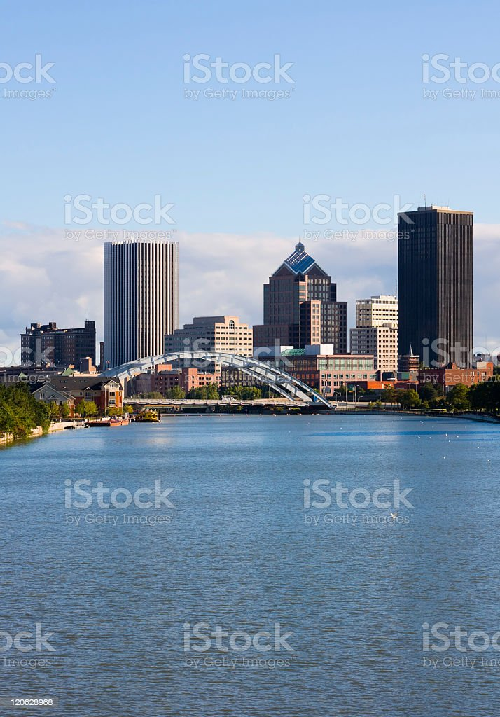 View of skyscrapers across the water in Rochester, New York stock photo