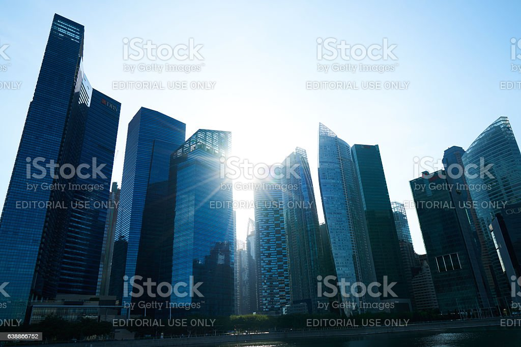 View of Skyscrapers at Marina Bay in Singapore stock photo