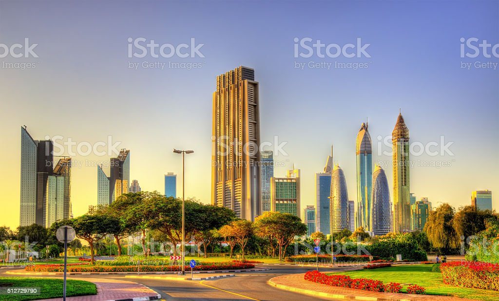 View of skyscrapers in Downtown Dubai - UAE stock photo